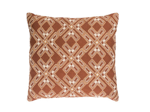 """18"""" City Snowflakes Milk Chocolate Brown and Eggshell White Square Throw Pillow - Down Filled - IMAGE 1"""
