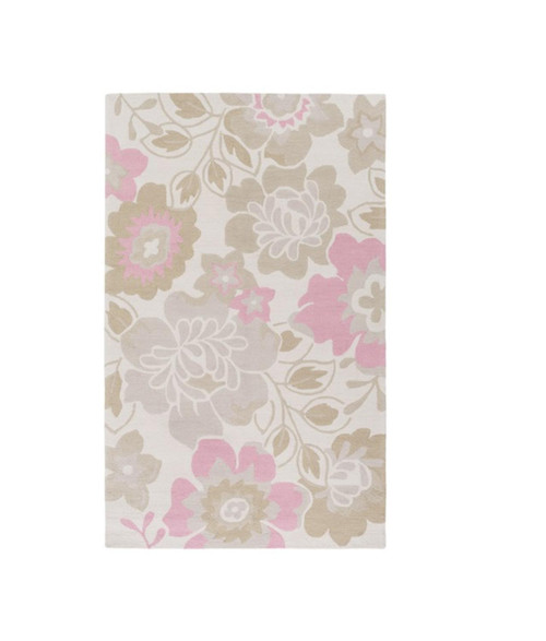 3' x 5' Pink and Cream White Flower Silhouettes Rose Hand Hooked Area Throw Rug - IMAGE 1