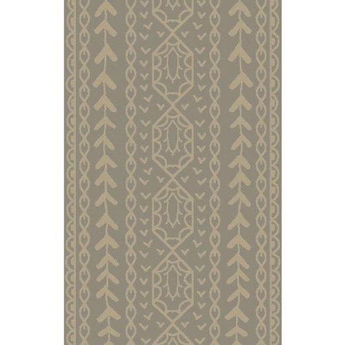 5' x 8' Beige and Gray Hand Knotted Area Throw Rug - IMAGE 1