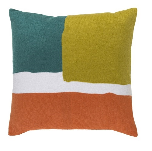 """18"""" Turquoise Blue and Orange Contemporary Square Throw Pillow - IMAGE 1"""