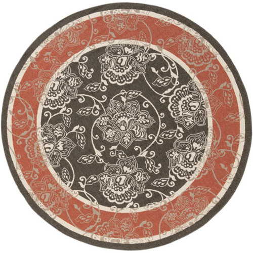 5.25' Red and Black Floral Round Area Throw Rug - IMAGE 1