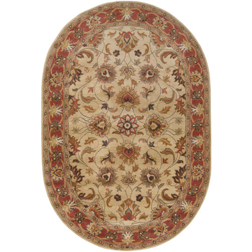 6' x 9' Brown and Beige Traditional Hand Tufted Oval Area Throw Rug - IMAGE 1