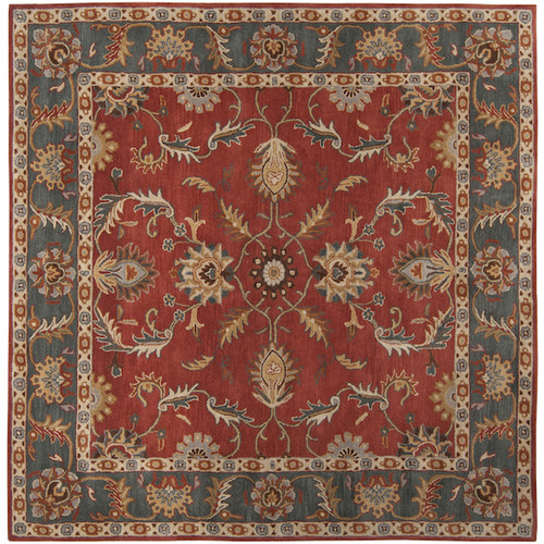 8' x 8' Brick Red and Slate Blue Damask Hand Tufted Square Area Throw Rug - IMAGE 1
