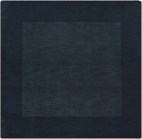 8' x 8' Solid Navy Blue Hand Loomed Square Wool Area Throw Rug - IMAGE 1