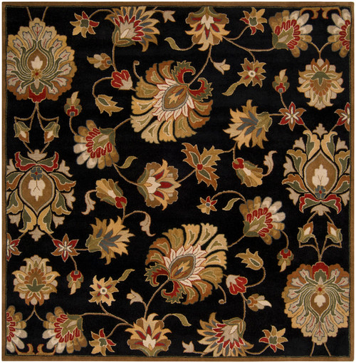 8' x 8' Black and Brown Contemporary Hand Tufted Floral Square Wool Area Throw Rug - IMAGE 1