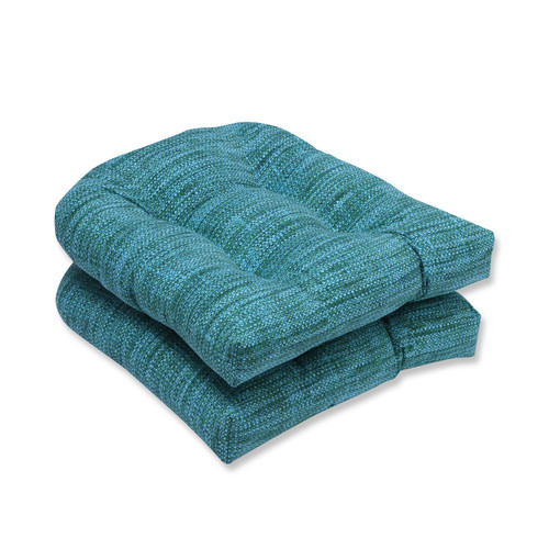 """Set of 2 Blue Caribbean and Green Beach Horizon Outdoor Patio Rounded Chair Cushion 19"""" - IMAGE 1"""