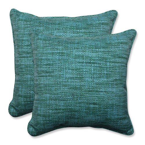 "Set of 2 Blue Caribbean and Green Beach Horizon Outdoor Corded Square Throw Pillows 5"" - IMAGE 1"