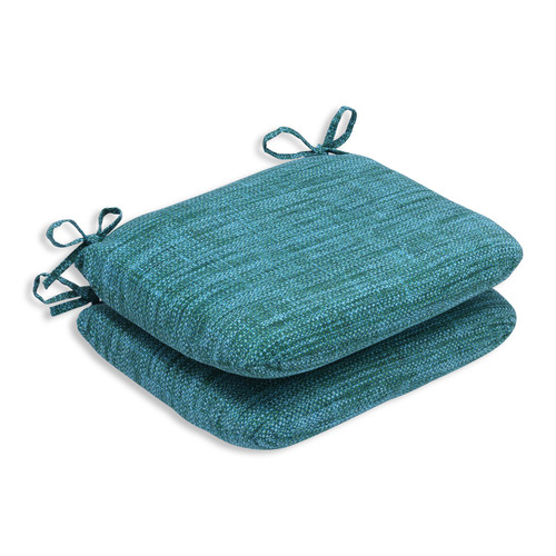"""Set of 2 Blue Caribbean and Green Beach Outdoor Patio Rounded Chair Cushions 18.5"""" - IMAGE 1"""