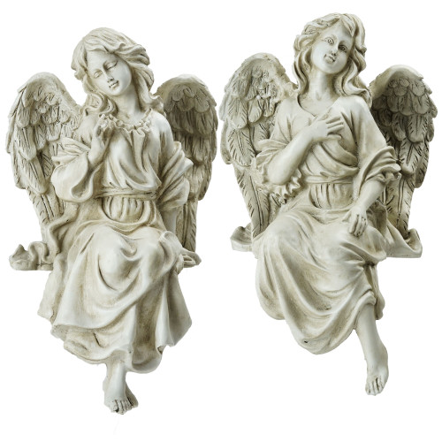 "14"" Gray Set of 2 Decorative Sitting Angel Outdoor Garden Statues - IMAGE 1"