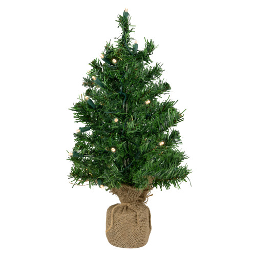 """18"""" Pre-Lit Medium Mixed Green Pine Artificial Christmas Tree in Burlap Base - Clear LED Lights - IMAGE 1"""