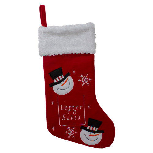"""19"""" Red and White Embroidered Snowmen Letter to Santa Christmas Stocking - IMAGE 1"""