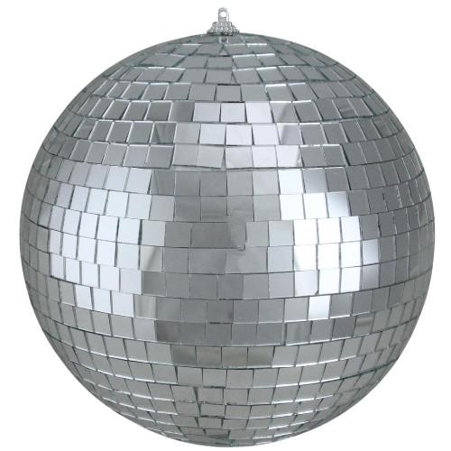 "Shiny Silver Splendor Mirrored Glass Disco Ball Christmas Ornament 8"" (200mm) - IMAGE 1"