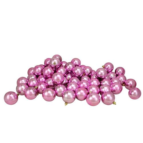 "60ct Bubblegum Pink Shatterproof Shiny Christmas Ball Ornaments 2.5"" (60mm) - IMAGE 1"