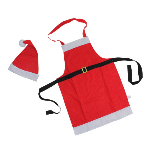 """30"""" Red Santa Claus Unisex Adult Christmas Apron with Hat - One Size - IMAGE 1"""