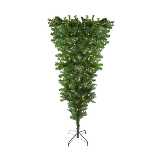 6.5' Pre-Lit Upside Down Spruce Artificial Christmas Tree - Warm White LED Lights - IMAGE 1