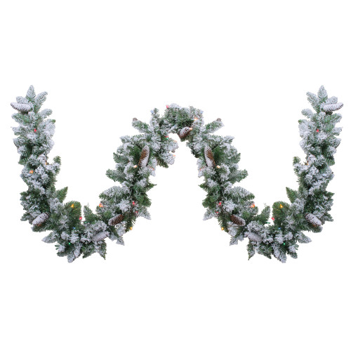 "9' x 10"" Pre-Lit Flocked Pine Artificial Christmas Garland - Multi Color Lights - IMAGE 1"
