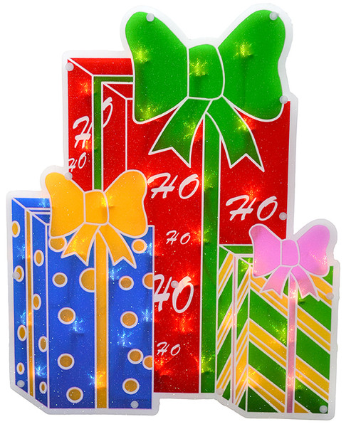 """17"""" Lighted Double-Sided Shimmering Christmas Presents Window Silhouette - IMAGE 1"""