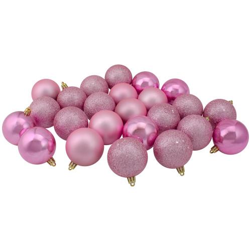 "24ct Pink Shatterproof 4-Finish Christmas Ball Ornaments 2.5"" (60mm) - IMAGE 1"