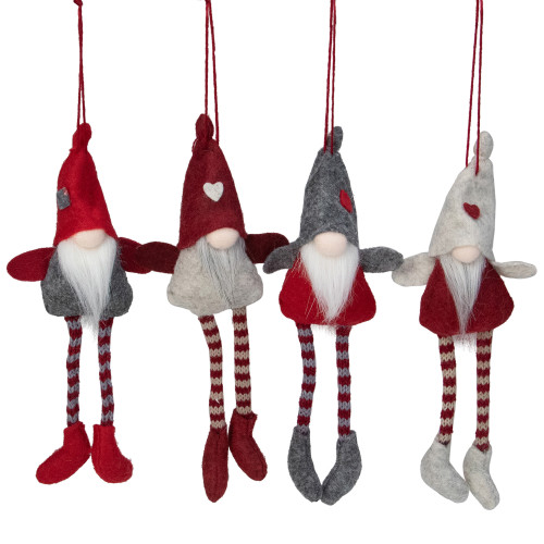 "Set of 4 Red, Gray and Beige Plush Gnome Christmas Ornaments 8"" - IMAGE 1"