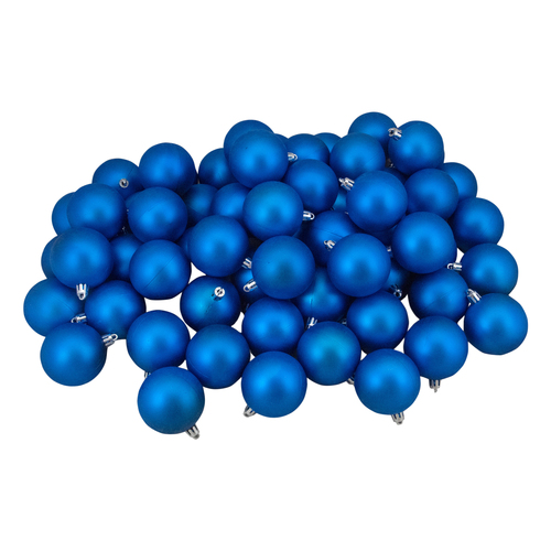 "60ct Lavish Blue Shatterproof Matte Christmas Ball Ornaments 2.5"" (60mm) - IMAGE 1"