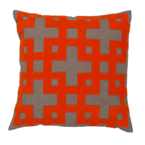 "20"" Spicy Orange and Gray Contemporary Square Throw Pillow - IMAGE 1"