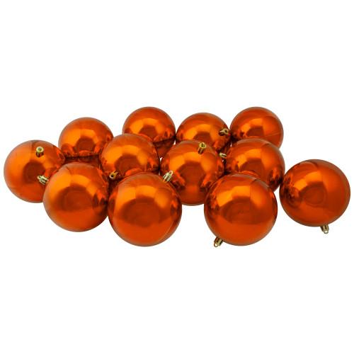 "Set of 12 Shiny Burnt Orange Shatterproof Christmas Ball Ornaments 4"" - IMAGE 1"
