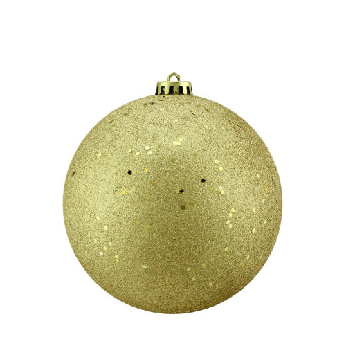 "Holographic Glitter Vegas Gold Shatterproof Christmas Ball Ornament 6"" (150mm) - IMAGE 1"