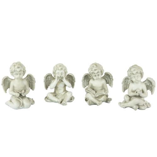 """Set of 4 Gray Cherub Angel Outdoor Garden Statues 6.5"""" - IMAGE 1"""