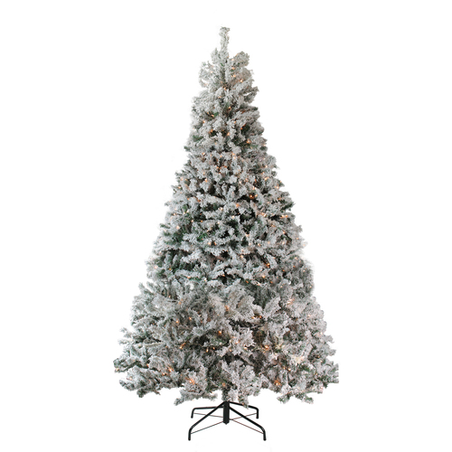 7.5' Pre-Lit Heavily Flocked Medium Pine Artificial Christmas Tree - Clear Lights - IMAGE 1