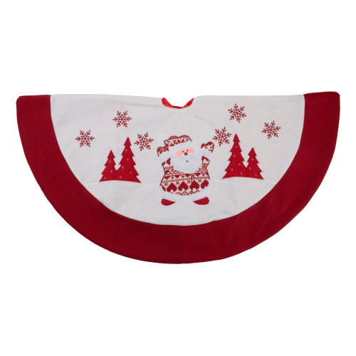 """36"""" Red and White Knit Santa Claus Embroidered Christmas Tree Skirt - IMAGE 1"""