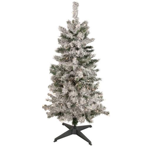 4.5' Pre-Lit Flocked Pine Medium Artificial Christmas Tree - Clear Lights - IMAGE 1