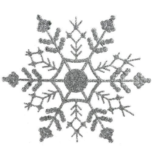 "24ct Silver Splendor Glitter Snowflake Christmas Ornaments 4"" - IMAGE 1"