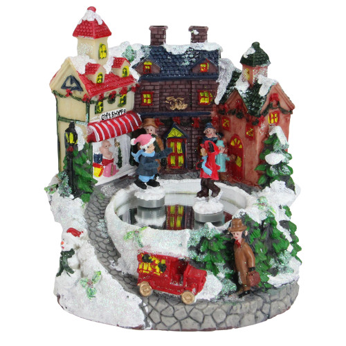 "6.75"" Animated Victorian Street Ice Skating Winter Scene Christmas Music Box - IMAGE 1"