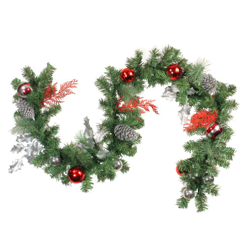 """6' x 8"""" Red Ornaments and Pine Cone Artificial Christmas Garland - Unlit - IMAGE 1"""