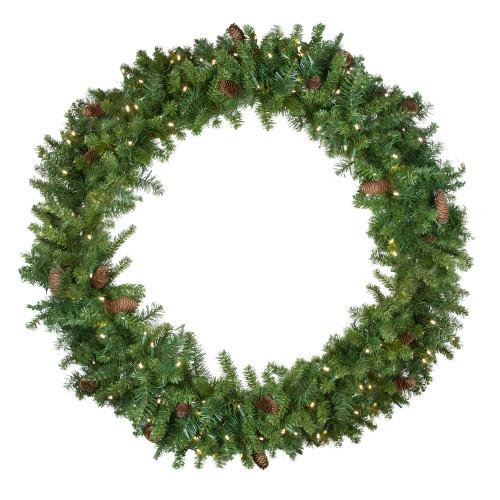 Pre-Lit LED Dakota Red Pine Artificial Christmas Wreath - 48-Inch, Warm White Lights - IMAGE 1