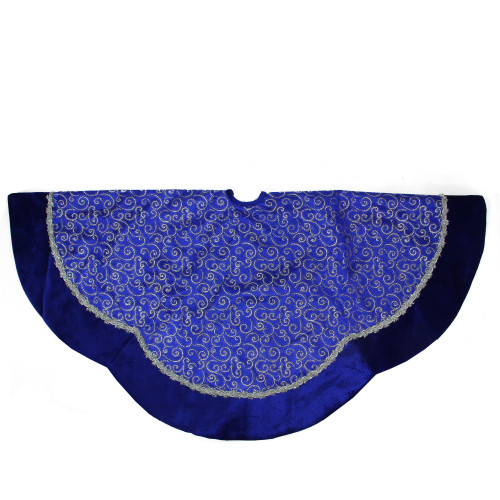 """48"""" Royal Blue and Silver Swirl Christmas Tree Skirt with Scalloped Trim - IMAGE 1"""