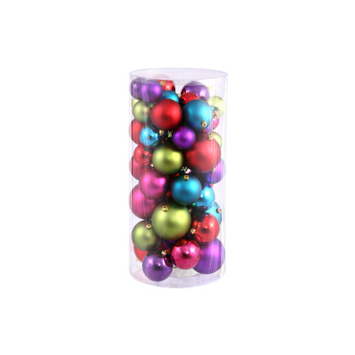 """50ct Red and Purple Shatterproof 2-Finish Christmas Ball Ornaments 4"""" (100mm) - IMAGE 1"""