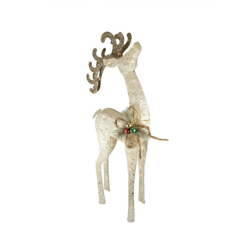 "46"" Pre-Lit Brown and Ivory Reindeer Outdoor Christmas Decor - IMAGE 1"