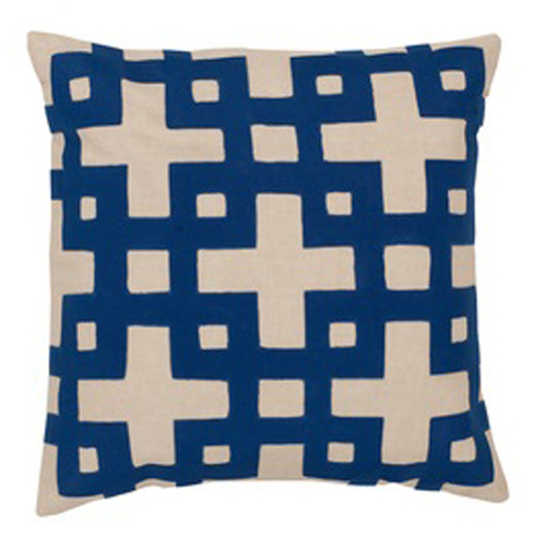 """20"""" Canvas Beige and Royal Blue Contemporary Square Throw Pillow - IMAGE 1"""