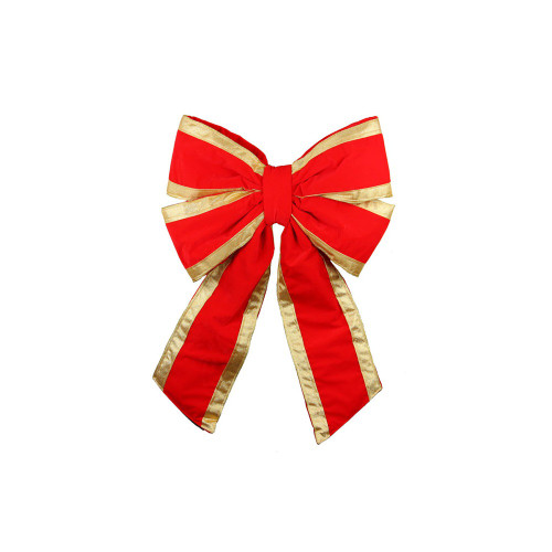 """20"""" Commercial Structural 4-Loop Red and Gold UV Treated Outdoor Christmas Bow - IMAGE 1"""