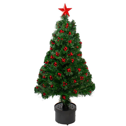 3' Pre-Lit Color Changing Fiber Optic Christmas Tree with Red Berries - IMAGE 1