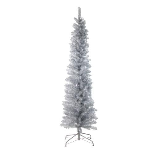 6' Pencil Silver Artificial Christmas Tree - Unlit - IMAGE 1