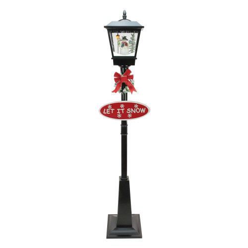"""70.75"""" Black Lighted Musical Snowman Vertical Snowing Christmas Street Lamp - IMAGE 1"""