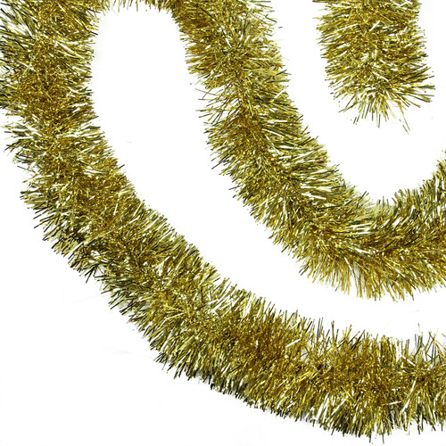"50' x 4"" Gold Tinsel Artificial Christmas Garland - Unlit - IMAGE 1"