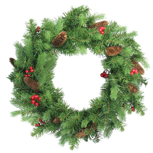 Noble Fir with Berries Artificial Christmas Wreath - 24-Inch, Unlit - IMAGE 1