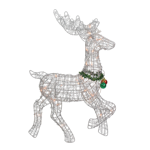 "25"" Silver and Green Lighted Prancing Reindeer Christmas Outdoor Decor - IMAGE 1"