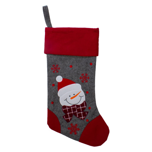 "19"" Gray and Red Embroidered Snowman Christmas Stocking - IMAGE 1"