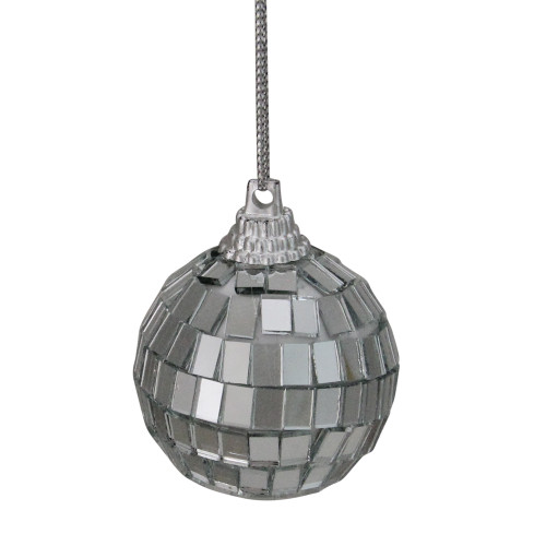 "9ct Silver Splendor Mirrored Glass Disco Ball Christmas Ornaments 1.5"" (40mm) - IMAGE 1"