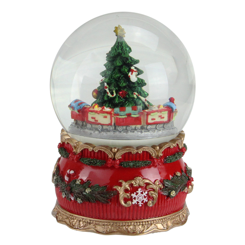 "6"" Musical Christmas Tree and Train Animated Water Globe - IMAGE 1"