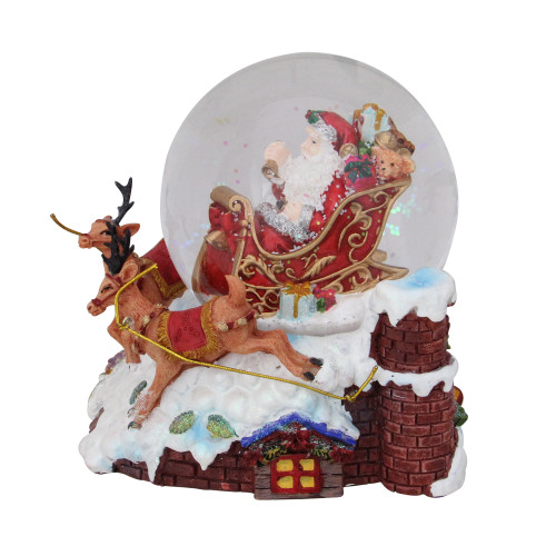 "5.5"" Santa Claus on Sleigh with Reindeer Musical Christmas Snow Globe - IMAGE 1"